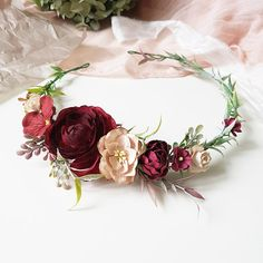 Perfect for your wedding, photoshoot or other celebrations. Made with blush pink, beige and burgundy paper flowers and faux realistic greenery. The size of the wreath is adjustable with the ribbon. Ribbon is included. Lightweight and durable. The item will be gift packed.