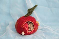 Apfelhäuschen mit Mäuschen Apfelhaus mit Maus von Barbaras Blumenkinder und Puppen Welt auf DaWanda.com