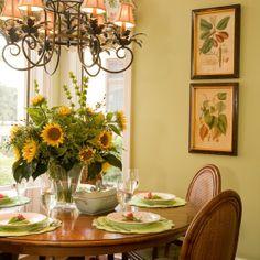 Nook ideas, like the art.  Celery green with sunflowers. Peaceful balance.