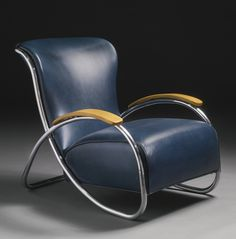 KEM Weber, ARMCHAIR, chromium-plated steel, bent plywood and original leather upholstery, circa 1934, manufactured by Lloyd Manufacturing Company, Menominee, MI.