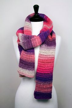 MultiColor Handmade Crochet Scarf in Merino Wool Extra by Skarvery, $50.00
