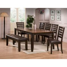 6pc2328dining Crown Mark 6 Piece Dining Set With Bench Round Table