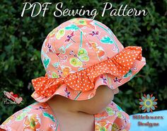 Elianna Beach Hat S113CHLD is a Confident Beginner Level PDF sewing pattern that makes a lovely lined hat for enjoying a sunny day at the beach or playing outdoors. Three style options are included: Wavy Brim (can be reversible), Wavy Brim with Ruffle or Ruffle Brim. This pattern includes 4 sizes to fit babies, toddlers, & small children (approx ages 3m to 5y). ~~~~~~~~~~~~~~~~~~~~~~~~~~~~~~~~~~~~~~~~~~~~~~~~~~~~~~~~~~~~~~~~~~~~~~~~~~~ This is a DIGITAL PDF SEWING PATTERN only, NOT a fini...