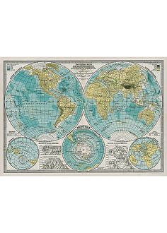 love old maps for wall decor.