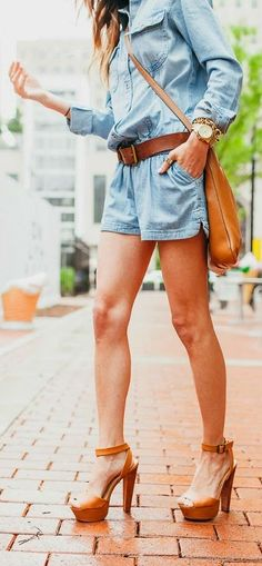 Denim Romper Streetstyle by Sequins & Things