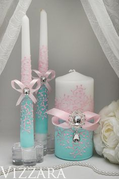 Unity candles set Wedding mint Personalized unity candle Mint green wedding Elegant unity candles Mint and pink wedding Floating Candles Wedding, Big Candles, Candle Wedding Centerpieces, Pillar Candles, Hanging Candles, Unity Candle Holder, Candle Art, Personalized Candles, Handmade Candles