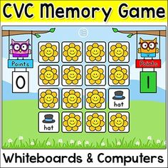 Phonics CVC Memory Game for Whiteboards and Computers - Practice CVC words with this engaging phonics memory game for interactive whiteboards and computer stations.  You can play as a class using the whiteboard or in smaller groups or individually on the computer.