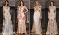 [tps_header]If you're the type of bride who prefers turquoise to diamonds, wildflowers to roses, braids to formal up-do's, and a VW bus to a limo, Claire Pettibone is the wedding dress designer for you. Th...