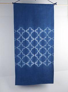 Katano shibori, a traditional Japanese shibori technique was employed to make this wall hanging. Little M Blue
