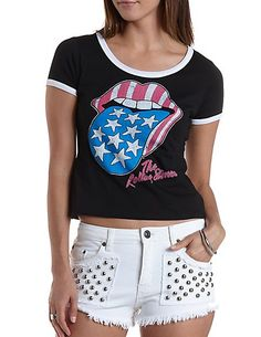 The Rolling Stones Graphic Ringer Tee: Charlotte Russe #rollingstones #graphics