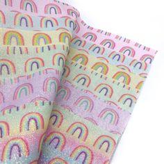 Doodle Rainbow Fine Glitter Fabrics Glitter Fabric, Day Up, All Design, Fabric Design, Craft Supplies, Doodles, Fabrics, Notes, Rainbow