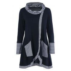 Long Sleeve Plus Size Striped Trim Overlap T-Shirt - Black Fall Spring Top Fashion, Plus Size Fashion, Fashion Outfits, Mens Fashion, Cheap Fashion, Fashion Clothes, Fashion Site, Trendy Fashion, Plus Size T Shirts