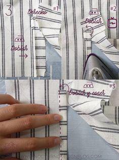 Cómo coser un puño con portañuela - Quixotic Tutorial and Ideas Sewing Lessons, Sewing Hacks, Sewing Tutorials, Sewing Patterns, Sewing Tips, Sewing Sleeves, Design Blog, Pattern Cutting, Sewing Clothes