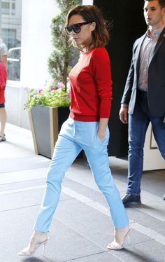 Wearing red and blue pieces from her own collection in June 2016.