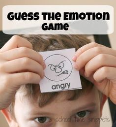 School Time Snippets: Guess the Emotion Game. Pinned by SOS Inc. Resources. Follow all our boards at pinterest.com/sostherapy/ for therapy resources.