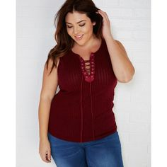 Zenobia  Ribbed Knit Lace-Up Tank ($22) ❤ liked on Polyvore featuring plus size women's fashion, plus size clothing, plus size tops, burgundy, plus size, wet seal, ribbed tank, red tank, womens plus size tank tops and plus size ribbed tank tops