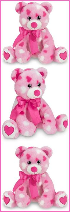 """PINK HEART TEDDY BEAR: Adorably cute 8.5"""" tall pink stuffed animal teddy bear with soft heart print fur, heart foot pad, sparking eyes and satin bow, surface washable SOFT & CUDDLY: Delicately stuffed for softness, this teddy is a cuddly and huggable plushy QUALITY MATERIALS: Made with the finest ultra soft plush materials and premium stuffing, this toy bear is perfect for cuddling A SPECIAL GIFT: Makes a perfect I love you or happy Valentines Day gift for girls, boys and kids of all ages... Teddy Bear Poodle, Huge Teddy Bears, Red Teddy Bear, Teddy Bear Cartoon, Large Teddy Bear, Steiff Teddy Bear, Teddy Bear Drawing Easy, Teddy Bear Outline, Teddy Bear Template"""
