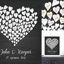 Plakat a'la księga gości -  Tablica pełna serc, Ślub - dodatki