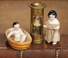 """For the Love of the Ladies"" - October 1-2, 2016 in Phoenix, AZ: 367 Three Tiny German Porcelain Dolls"
