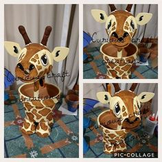 This gorgeous terracotta giraffe planter and garden decoration is perfect to add a little flare to your garden, flower beds, patio or even indoors. She features a yellow body with brown spots, craft foam ears and wooden neck. Handcrafted using terracotta Flower Pot Art, Flower Pot Design, Clay Flower Pots, Flower Pot Crafts, Flower Boxes, Diy Flowers, Clay Pot Projects, Clay Pot Crafts, Foam Crafts
