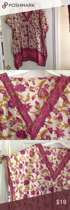 """BEAUTIFUL SILK KAFTAN W DRAWSTRING SILK KAFTAN has Tones of pink, gold and white with a purple draw string.  Gold beads embellish the V-Neck collar. 34"""" long. 36"""" wide X front and back = 72"""" total. Tops Tunics"""