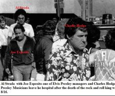 Als Strada with Joe Esposito and Charlie Hodge leave the hospital after the death of Elvis Presley, August 16, 1977