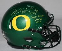 """MARCUS MARIOTA Signed LE Oregon Full-Size Authentic Pro-Line Speed Helmet Inscribed """"Oregon Record: 13,089 Yds"""" & """"105 Tds"""" STEINER COA LE 14 - Game Day Legends"""