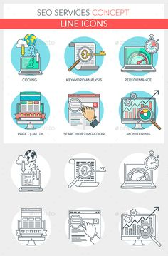 Outline Illustration, Digital Illustration, Search Optimization, Social Media Icons, Line Icon, Print Templates, Seo Services, Jakarta, Presentation Templates