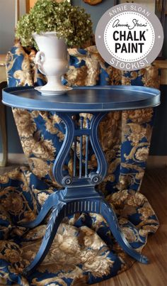 Vintage Mersman table hand painted in Chalk Paint® Napoleonic Blue and a Chalk Paint® Paris Grey wash. Painted by Edwin Loy Home.