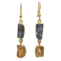 Gold-plated Brass Blue Kyanite and Citrine Rough Cut Gemstone Handmade Earrings https://sitaracollections.com/collections/goldplated-jewelry/products/gold-plated-brass-blue-kyanite-and-citrine-earrings