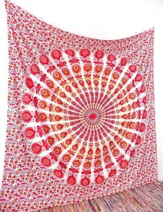 WHITE RED PINK Large Cotton Mandala Fabric Hippie Wall Tapestry Bohemian Wall Hanging Ethnic Boho Gypsy Bedding Bedspread Home Decorative