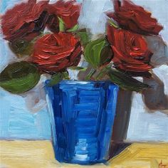"""Daily Paintworks - """"Red Roses in Blue vase"""" by Azra Iqbal"""
