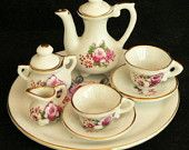 Tea Set - Hand Painted Miniature  - Pitcher, Sugar, Creamer, Tray, Cups & Saucers -  Chadwick, Inc.