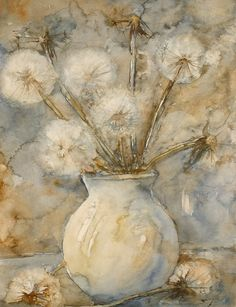 Watercolor ~ Make your Wish Watercolor Pictures, Watercolor Flowers, Watercolor Paintings, Watercolours, Dandelion Art, Alcohol Ink Painting, Expressive Art, Art Impressions, Old Art