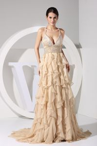 Champagne Brush Train Plunging Neckline Beaded Pageant Dresses with Ruffles