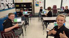 Code Club test driving @CodeMonkeySTU after school today. The verdict: thumbs up!