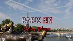 Ultra HD 4K Paris France Seine River Travel Sightseeing Tour Boat Ship Trip UHD Video Stock Footage