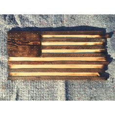 Reclaimed Wood American Flag from Heart Pine wood that comes out of homes and barns in and around Atlanta, GA.  by Woodology
