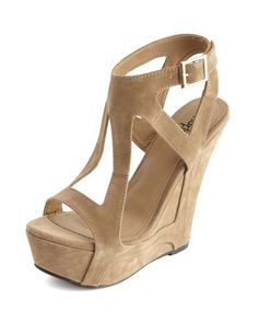 Geo Caged Sueded Wedge Sandal: Charlotte Russe
