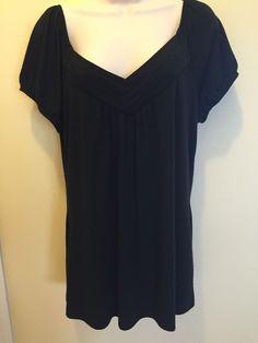 Women's GITANO 14 / 16 W BLACK V- Neck  Blouse Short Sleeve EUC #Gitano #Blouse