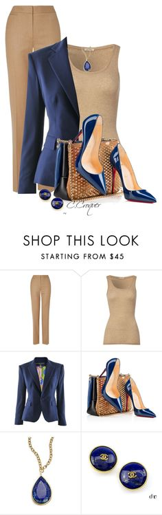 """""""Camel & Blue"""" by ccroquer ❤ liked on Polyvore featuring Jaeger, American Vintage, Ralph Lauren, Christian Louboutin, Karen Kane and Chanel"""