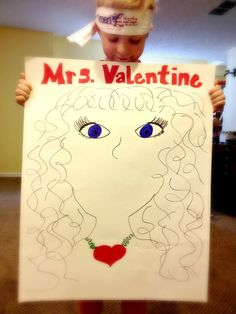 Pin the lips on Mrs. Valentine game