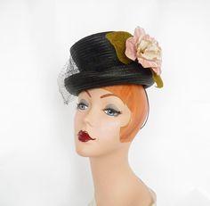 1930s 1940s tilt hat, black percher steampunk, NY Creation by TheVintageHatShop…