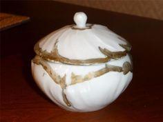 Vintage LIMOGES France Lidded Trinket Box White Porcelain Gold Accent
