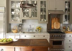 Eclectic Kitchen Design, Pictures, Remodel, Decor and Ideas - page 3 Grey Kitchen Cabinets, Kitchen Paint, New Kitchen, Kitchen Dining, Kitchen Decor, Upper Cabinets, Glass Cabinets, Colored Cabinets, White Cabinets