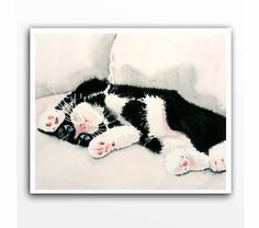 Cat Painting - Giclee Print of my watercolor painting - Christmas Gift Animals For kids Tuxedo cat art,  black and white kitten - 8 x 10 on Etsy, $21.00