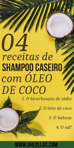 4 RECEITAS DE SHAMPOO CASEIRO COM ÓLEO DE COCO. Com babosa, bicarbonato de sódio, leite de coco e sal. #vegano #cabelo #cabelos #lowpoo #nopoo #ohlollas Shampoo Suave, Homemade Hair Treatments, Natural Shampoo, Vegan Beauty, Doterra Essential Oils, Pure Beauty, Diy Hairstyles, Natural Hair Styles, Hair Care