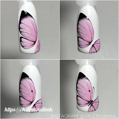 Manicure step by step - Best Nail Art Floral Nail Art, Nail Art Diy, Cool Nail Art, Diy Nails, Cute Nails, Pretty Nails, Butterfly Nail Designs, Butterfly Nail Art, Nail Art Designs