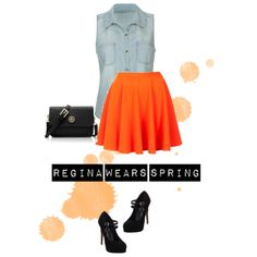A fashion look from May 2013 featuring blue shirt, flared skirts and high heeled footwear. Browse and shop related looks. Flare Skirt, Fashion Looks, Footwear, Ootd, Spring, Casual, Skirts, Polyvore, How To Wear