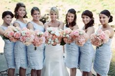 i like the light blue bridesmaid dresses Light Blue Bridesmaid Dresses, Light Blue Dresses, Blue Bridesmaids, Wedding Bridesmaid Dresses, Grey Dresses, Bridesmaid Bouquet, Wedding Attire, Wedding Colors, Periwinkle Wedding
